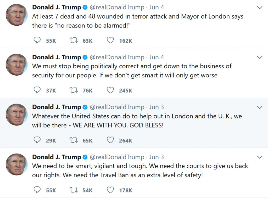 Туит на Доналд Тръмп към Садик Кхан, 04.6.2017 г., 04:31 am
