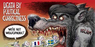Вълкът на политическата коректност, Карикатура: Бен Гарисън (grrrgraphics.com)