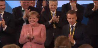 Макрон благодари за получената награда Карл Велики, 10.5.2018 г.; Снимка: скрийншот от видеозапис