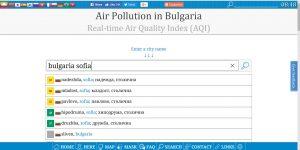 """Данни за чистота на въздуха по същото време от """"извора"""" на информацията; Скрийншот от сайта Aqicn.org; 04.1.2019 г., 8:49 ч."""