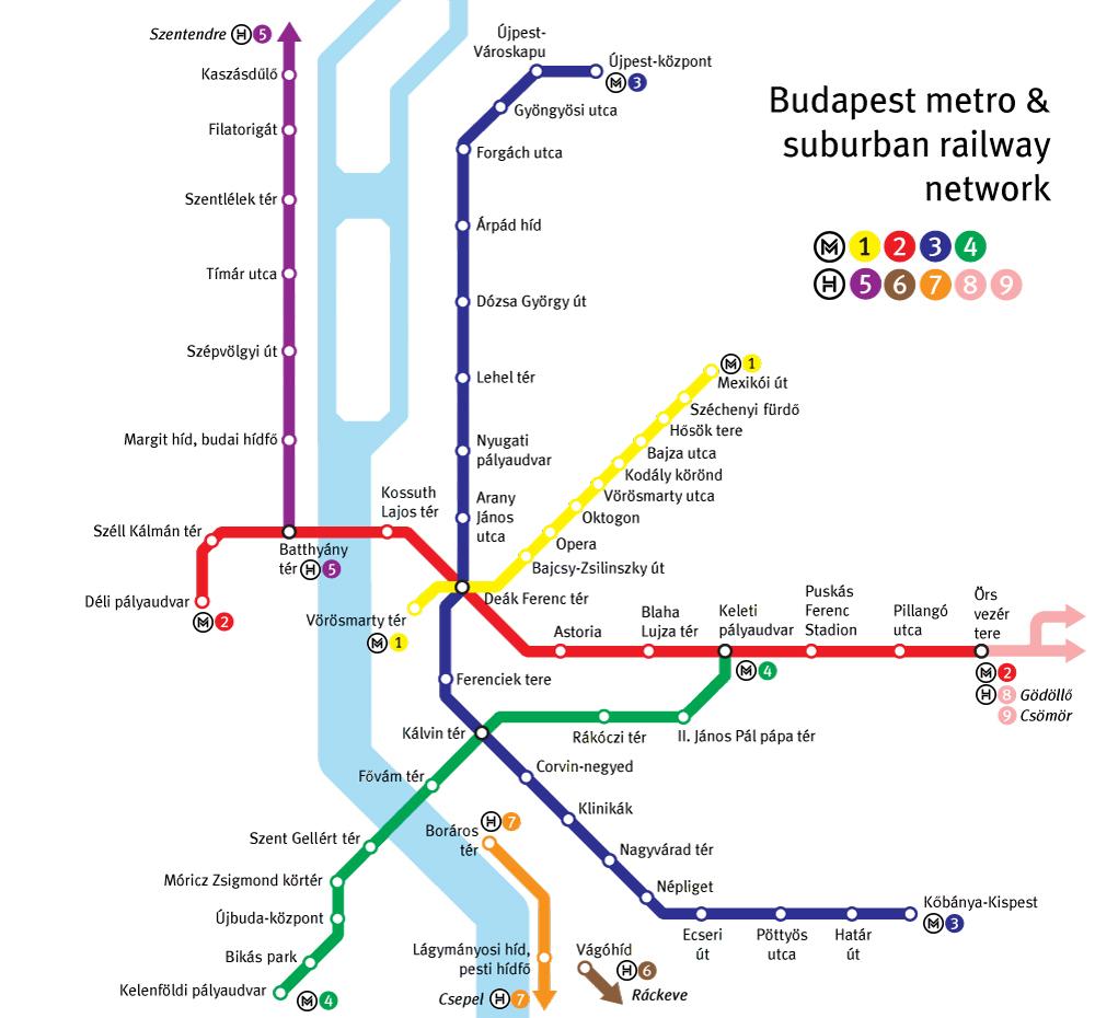 Карта на Будапещенското метро; Снимка: Budapesti Közlekedési Zrt.