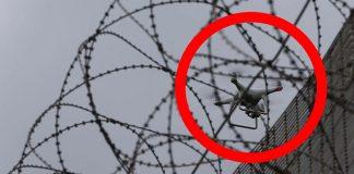 Дрон на път за затворническа доставка; снимка: в. Мирър